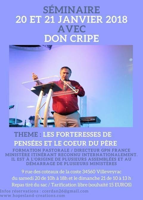 séminaire avec Don Cripe les 20 et 21 janvier 2018 à Villeveyrac (34)