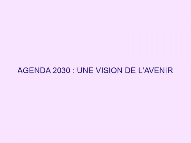 AGENDA 2030 : UNE VISION DE L'AVENIR